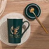 Xiaobing Tazza creativa per ufficio Tazza in ceramica per uso domestico semplice con coperchio per cucchiaio Phnom Penh Elk Pattern -C324-401-500ml