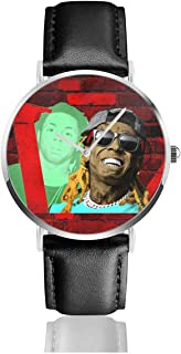 JohnMichelle Unisex Womens Man Lil Wayne Leather Watch Stainless Steel Quartz Watch Luxury Dress Wrist Watch 40mm Case Gift