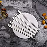 5 Pairs Reuseable Korean Household 304 Stainless Steel Chopsticks Flat Sushi Hashi Chop Sticks 23Cm Dinnerware Gold Chopsticks