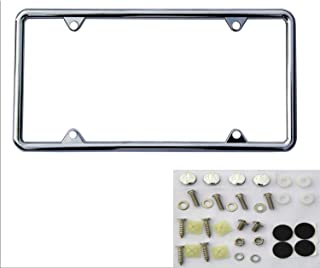 SIBUXIANG The 4 Holes Chromium-Plated License Plate Frame Made of Zinc Alloy Never Rust with Stainless Steel Screws and Plastics Caps 1package(Chrome(1p))