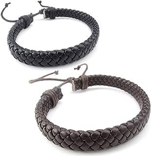 Mens Womens Leather Bracelet, 2pcs 7-9 inch Adjustable Braided Cuff Bangle, Brown Black