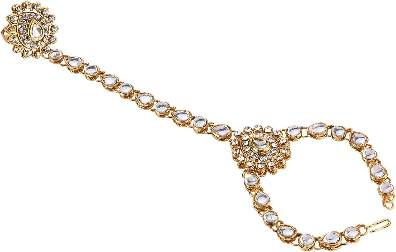 Efulgenz Indian Bollywood Gold Plated Crystal Kundan Finger Ring Link Chain Wedding Bridal Bracelet Hand Harness Slave Gift Jewelry