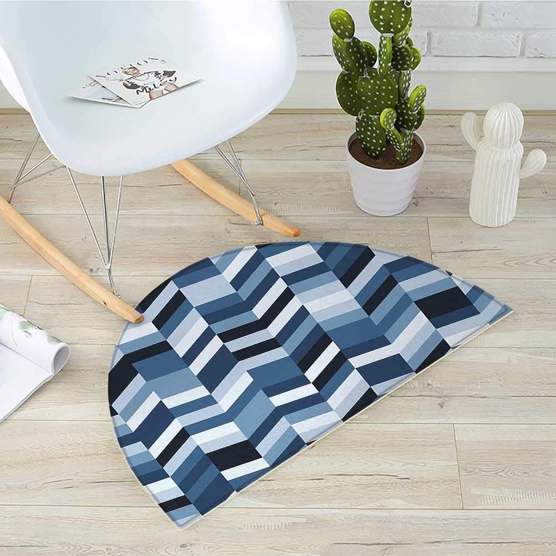 Navy Semicircle Doormat Soft Pastel Toned Modern Herringbone Pattern with Zigzag Twisty Stripes Image Halfmoon doormats H 23.6  xD 35.4  Dark and Slate bluee