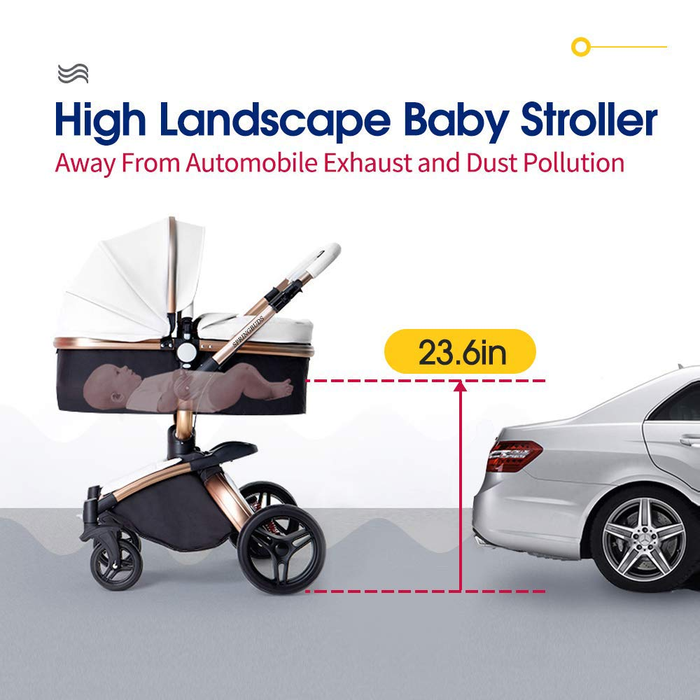 SpringBuds Baby Stroller Bassinet Carriage Combo 360 Rotation 2-in-1 Shock-Resistant High Landscape Luxury Pram Infant Stroller for Newborn and Toddler (white1)