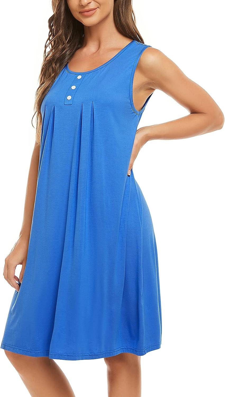 HOCOSIT Women's Nightgowns Sleeveless Sleep Dress Pleated Comfy