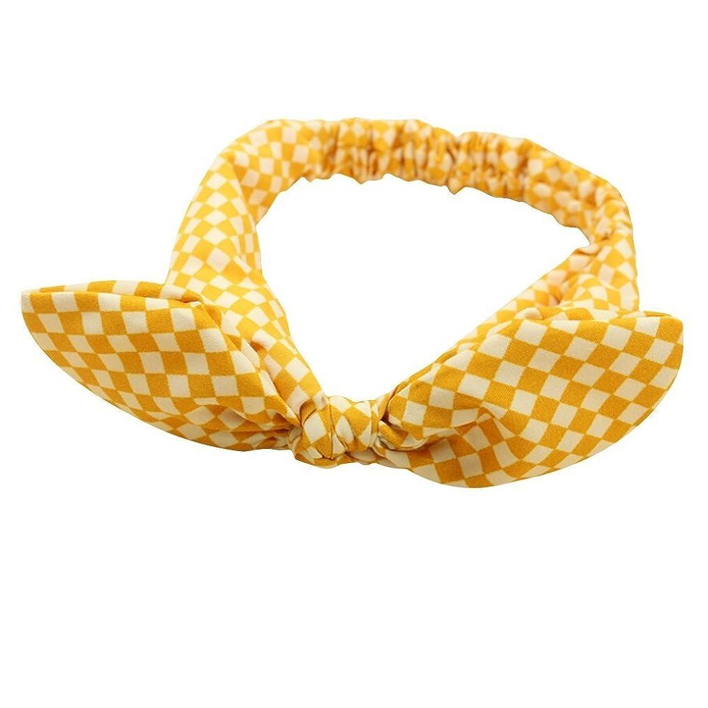 軽量スペシャリスト書道Xigeapg 小さい女の子のうさぎ耳のヘッドバンド ヘアバンド ヘッドドレス-黄色いグリット