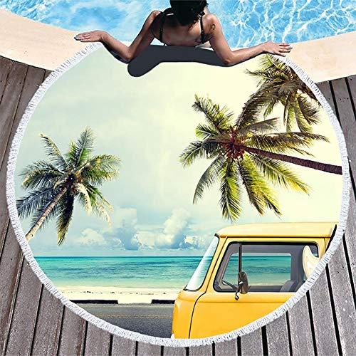 Boyouth Toalla de Playa Redonda, Toalla de Playa con Estampado de Playa con borlas Ultra Suave y Absorbente de Agua Multiusos