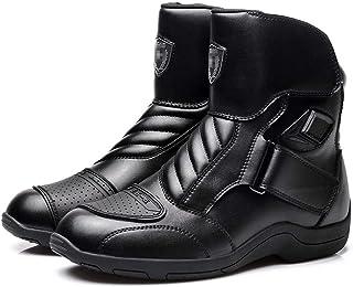 WERT Motorrad Schuhe Herren Sport Rüstung Schutz Motocross Onroad Boot Anti Slip Stiefel Lokomotive Reitstiefel,Black 44