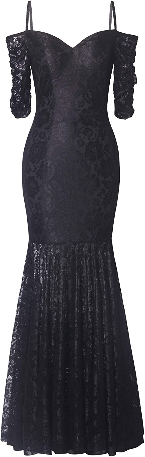 Fazadess Girl's Vintage Floral Lace Boat Neck Cocktail Formal Bodycon Stretchy Dress