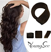 Youngsee 12inch Remy Straight Halo Wire Hair Extensions #4 Dark Brown Real Human Hair Hidden Wire Extensions 80g 11