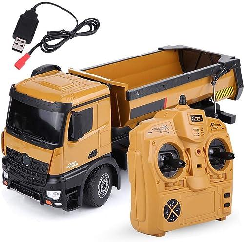 Dilwe RC Muldenkipper, HUINA 1573 1 14 Skala 2,4 GHz RCDumping Truck Auto Fernbedienung Engineering Fahrzeug Spielzeug Geschenk für Kinder