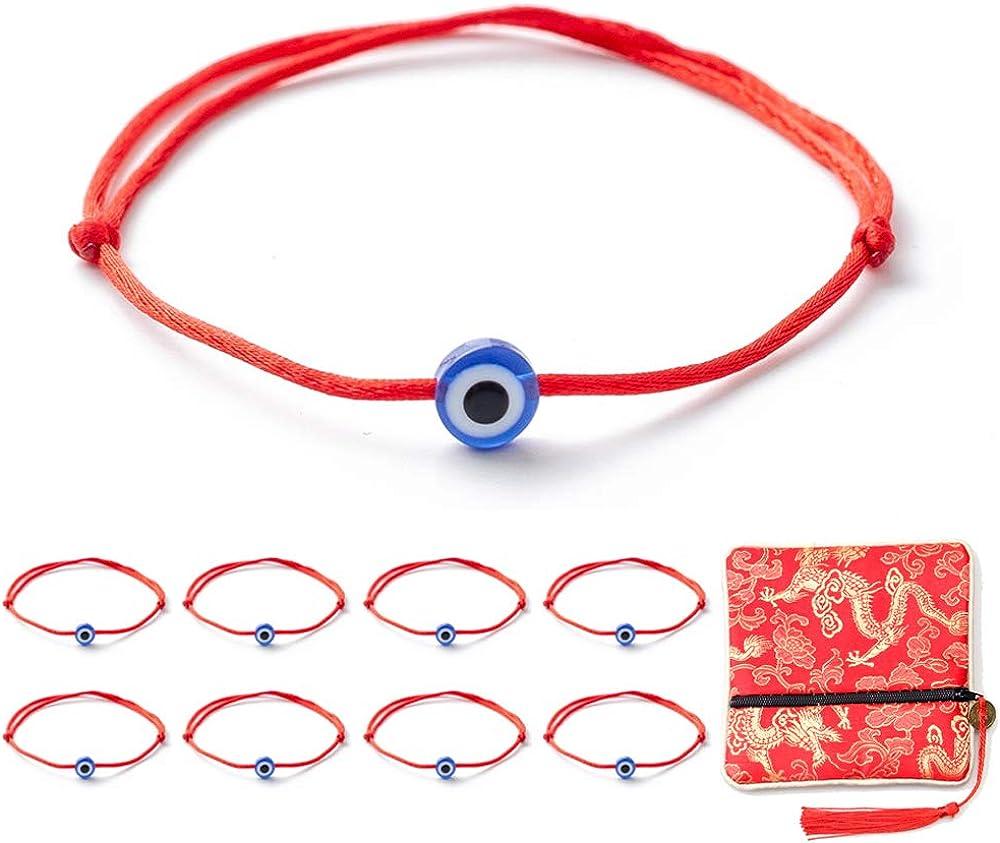 kelistom 8 Pieces Evil Eye Red Kabbalah String Bracelets for Wom