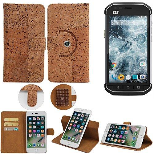 K-S-Trade® Schutz Hülle Für Caterpillar Cat S40 Handyhülle Kork Handy Tasche Korkhülle Schutzhülle Handytasche Wallet Case Walletcase Flip Cover Smartphone Handyhülle