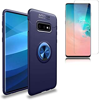 Case for Samsung Galaxy S10e with Tempered Glass Screen Protector, Ultra Thin Rotating Ring Holder Kickstand Shockproof Anti-Scratch Protective Case