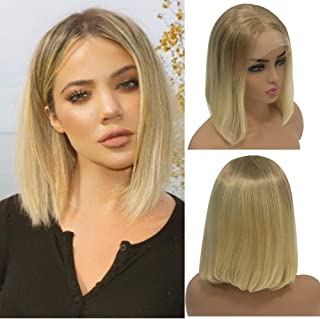 Blonde Human Hair 13x4 Lace Front Short Bob Wigs Ombre Blonde 12/613 2 Tone Pre Plucked with Baby Hair Bleached Knots Unprocessed Virgin bob for White Women