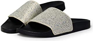 Ling-long 2019 New Women Crystal Beach Slippers Summer Shoes Comfortable Flip Flops Flat Shoes Black, Sliver Zapatillas CAS