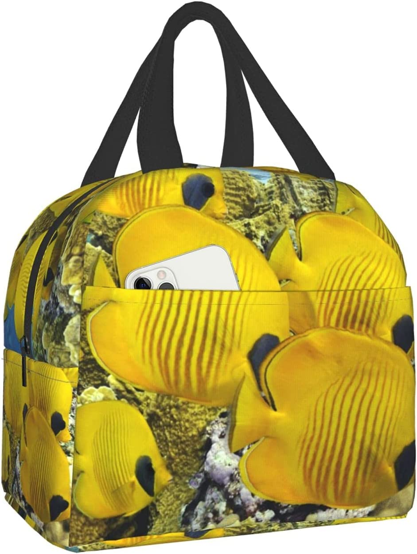 Yellow Fish Lunch Bag Reusable Handbag Women M New Oakland Mall life Tote Portable For