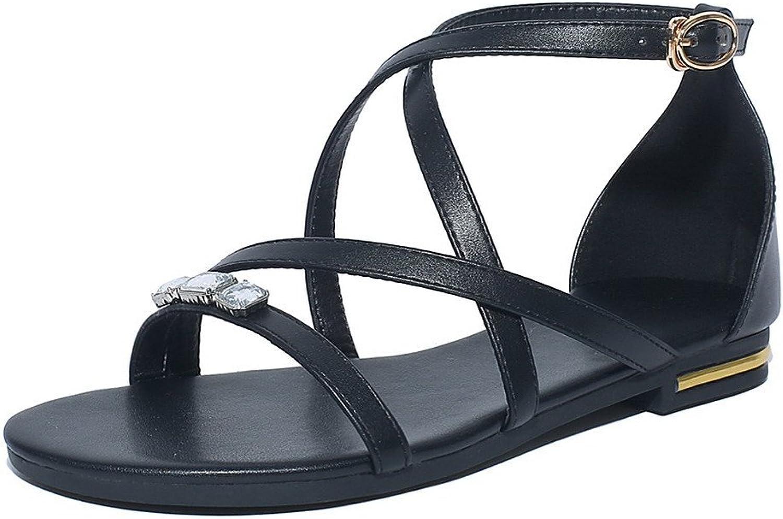 AmoonyFashion Women's Pu Low-Heels Solid Open-Toe Buckle Sandals, BUTLT005698