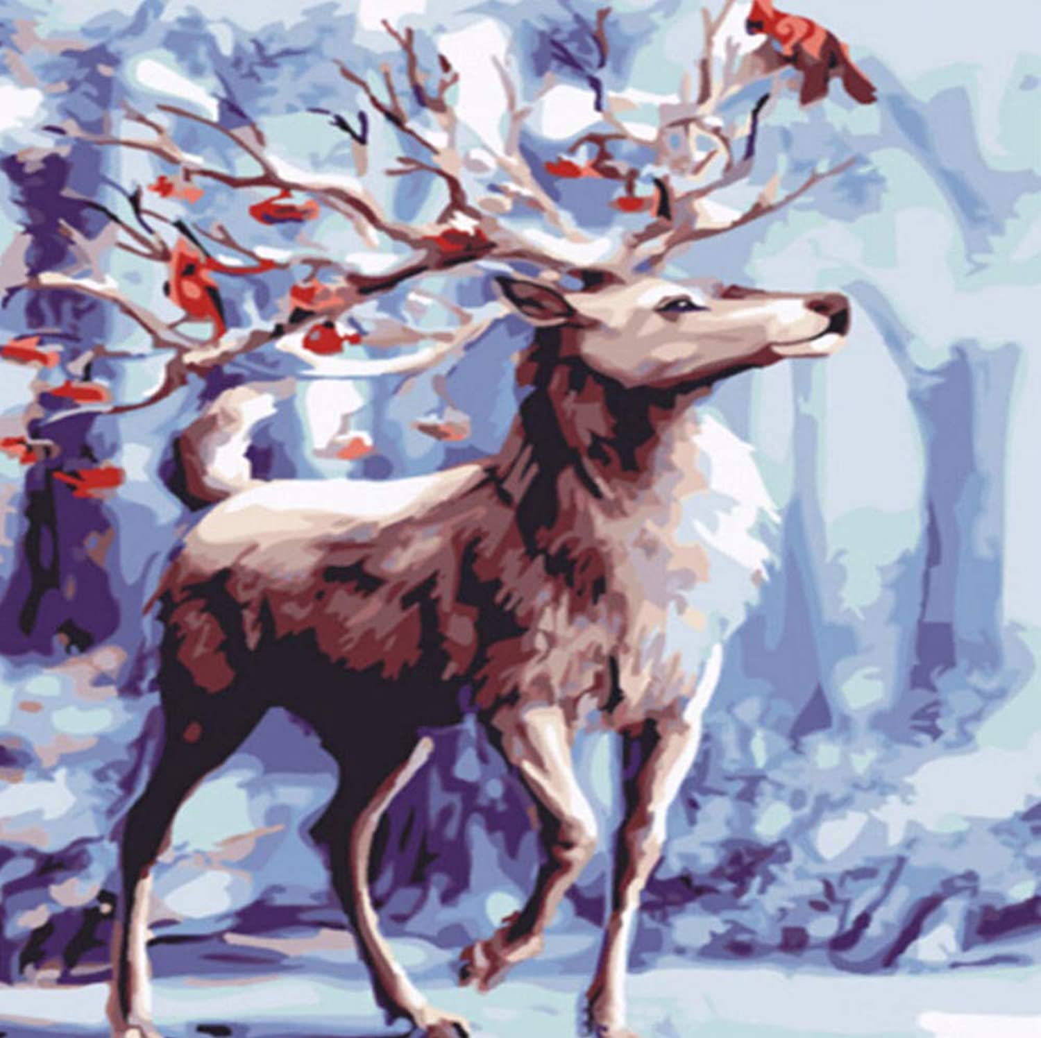 Snow Deer Oil Painting by Numbers DIY Abstract Animal Digital Picture coloring by Numbers On Canvas Unique Gift Home Decor 50x60CM