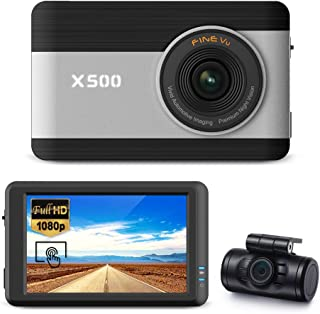 "FineVu X500 Dash Cam, Front and Rear Full HD 1080P, 3.5"" Touch Screen IPS, Hardwiring Cable, Samsung 64GB MicroSD Included, Night Vision ADAS Plus Time Lapse G-Sensor"