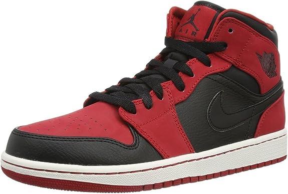 Nike pour homme – Air Jordan 1 Mid taillé Rare – Noir Rouge - noir ...