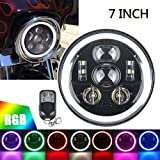 ROCCS Harley 7' RGB LED Halo Headlight, Dot Approved 7inch Headlamp fits Motorcycle Tour FLD Softail Heritage Softail Street Glide Electra Glide Road King Yamaha V-Star Road Star Jeep Wrangler