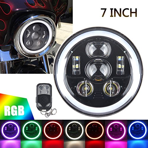 """Dot Approved 7"""" LED RGB Halo Headlight, ROCCS 7inch Headlamp fits Harley Motorcycle Tour FLD Softail Heritage Softail Street Glide Electra Glide Road King Yamaha V-Star Road Star Jeep Wrangler"""