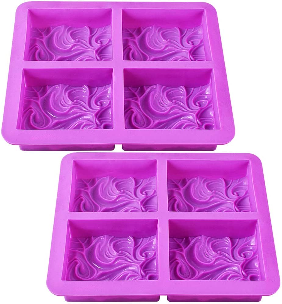 Newk Moldes de jabón de silicona, 2 paquetes de 4 cavidades de jabón hecho a mano con patrón de onda viva para jabón de leche (cavidades de 3.5 onzas)