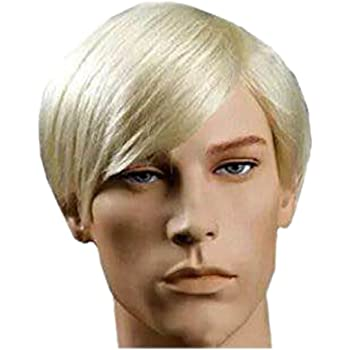 Amazon Com New Handsome Short Straight Men Wig Golden Blonde Color Halloween Party Hair Wig Beauty