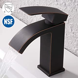 KES Bathroom Waterfall Faucet Single Handle One Hole Vanity Sink Faucet cUPC NSF Certified Lead Free Brass Construction, Oil Rubbed Bronze L3109ALF-ORB