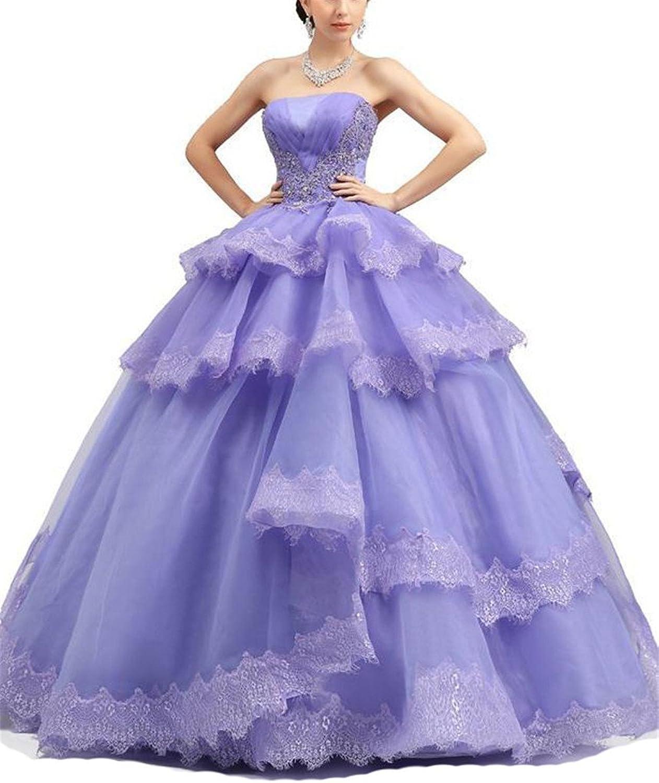 HSDJ Women's Sweet 16 Organza Appliques Ruffles Quinceanera Dresses