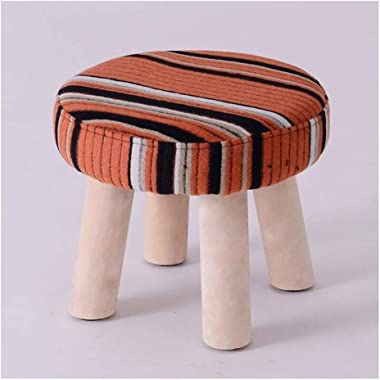 Carl Artbay Wooden Footstool Orange Stripes Home Solid Wood Stool Fashion Change Shoes Stool Home