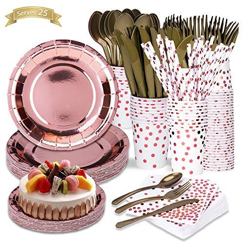 LOMOFI 225 Stück Geschirr Set,Rose Gold Dot Weiß Recycelbar Geschirr Kit Party Supplies, 25 Teller Dessertteller Tassen mit Papierstrohhalmen Löffel Gabeln Messer Servietten für Hochzeiten Geburtstag