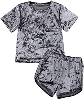 GOOCHEER 2 Pcs Fashion Toddler Kids Baby Girls Velvet Clothes Outfit Pant Set