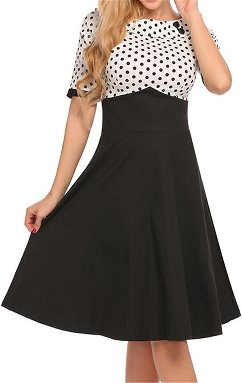 Zcaosma Women Patchwork ALine Dress Slash Neck Short Sleeve Pleated Dresses
