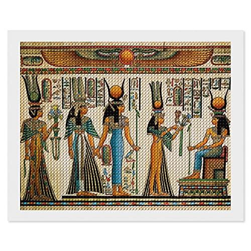 Kit de pintura de diamantes para adultos,El borrador del papiro muestra a la reina Nefertari haciendo un regalo abricolaje 5D diamante redondo bordado