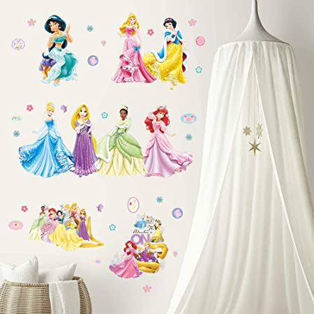 Supzone Princess Wall Stickers Girls Wall D/écor Removable Art Decor for Baby Nursery Girls Bedroom Wall Decals