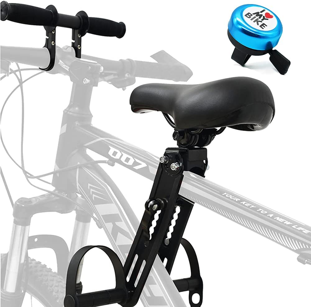 Gialer Kids Bike Seat and Handlebar Accessory Combo Pack Complete Set, Front Mounted Bicycle Seats for Children 2-5 Years (up to 48 Pound), Baby Bike Seat Compatible with All Adult MTB