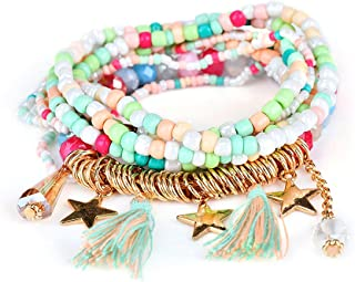 SimpleLife Bohemian Beaded Bracelet Stretch Wrap Bangle Women Multilayer Beads Bangle Nappe Bracciali