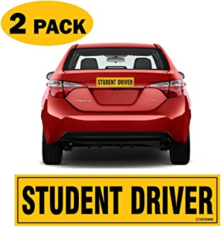 """TOTOMO Student Driver Magnet Sticker - (Set of 2) 12""""x3"""" Highly Reflective Premium Quality Car Safety Caution Sign Student Drivers #SDM02"""