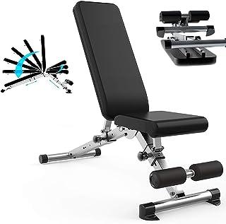WOERD Banc de Musculation Pliable Multifonctions Lit Sit-Ups,Dossier Réglable en 6 Positions Bureau,Domicile Gym Porte Jus...