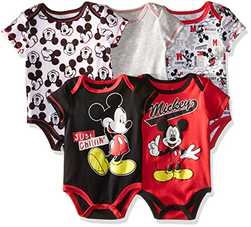Disney Baby-Boys Newborn Boy Mickey 5 Pack Bodysuit, Red, 0-3 Months