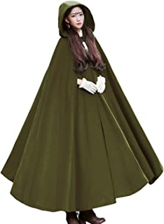 Women's Wool Blend Hooded Cape Poncho Maxi Cloak Coat
