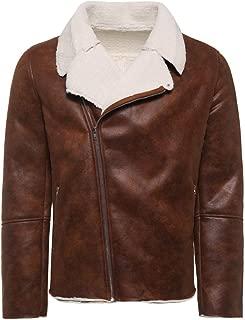 Sunward Coat for Men,Men's Autumn Winter Warm Fur Liner ZipperLapel Leather Zipper Outwear Top Coat