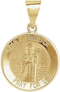 FB Jewels 14K Yellow Gold 15mm Round Hollow St. Patrick Medal