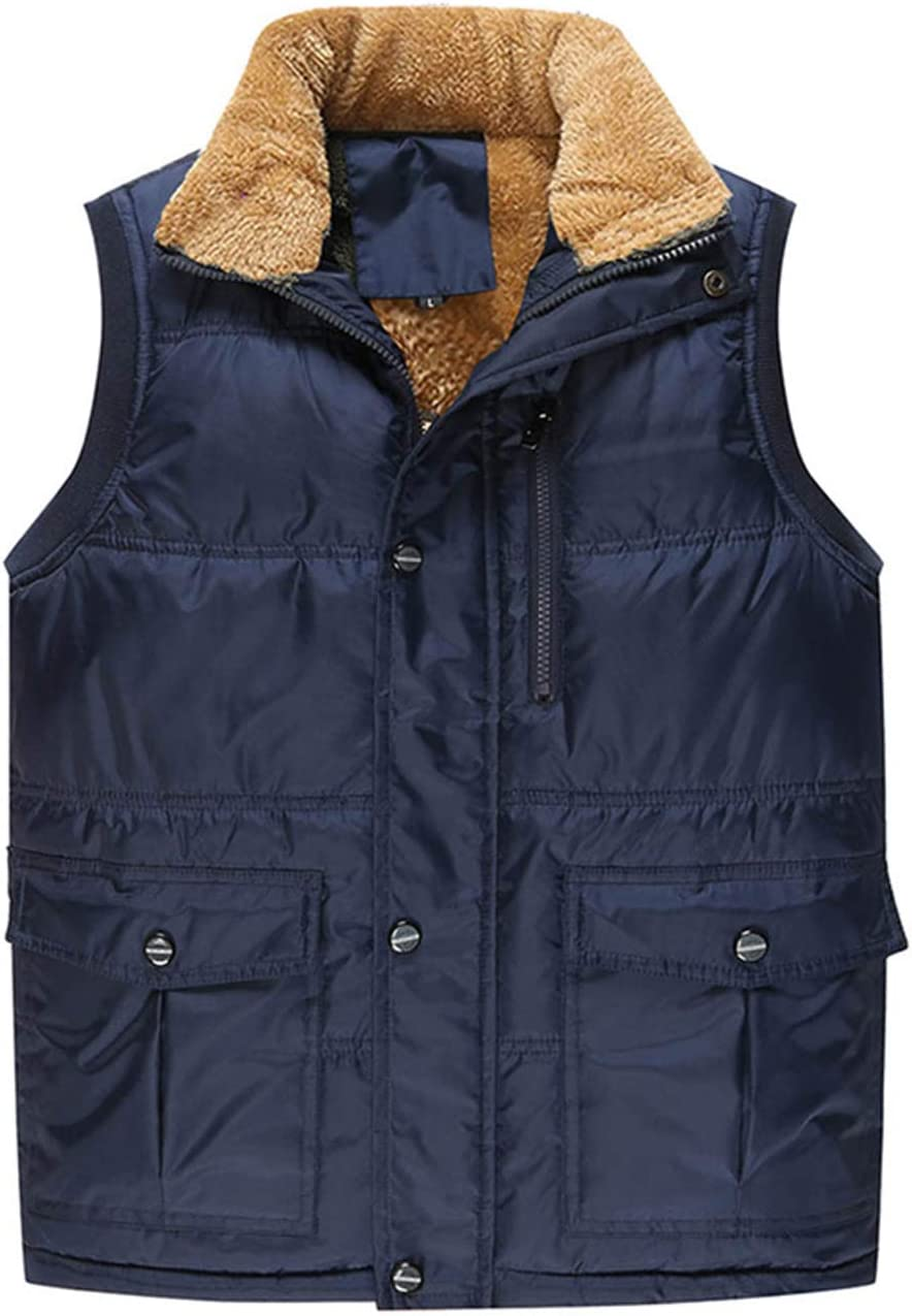 Byrotson Men's Padded Gilet Male Cotton Thick Warm Waistcoat Fleece Lined Thermal Soft Vest Autumn Winter Windproof Sleeveless Jacket for Outdoors,Blue,S