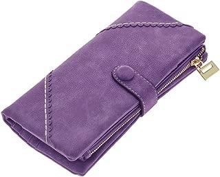 Wiwsi New Women Leather Purse Travel Cash Card Holder Zipper Clutch Long Wallet