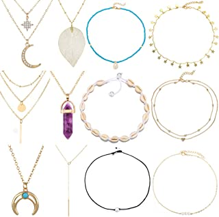12 Pcs Dainty Layered Chain Choker Necklace Set for Women Girls Handmade Adjustable Beach Gold Necklace Set for Birthday/Christmas/Party Gifts