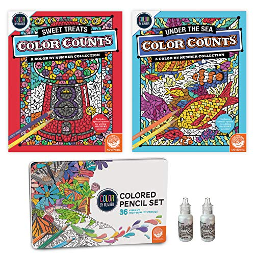 MindWare Color by Number Color Counts: Glitter Set of 2 with 36 Colored Pencils