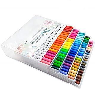 WSLCN Watercolor Pens Tip Colors Watercolour Brush Porous Fineliner Pen Set Marker Pen Double Ended Permanent Drawing Pens...